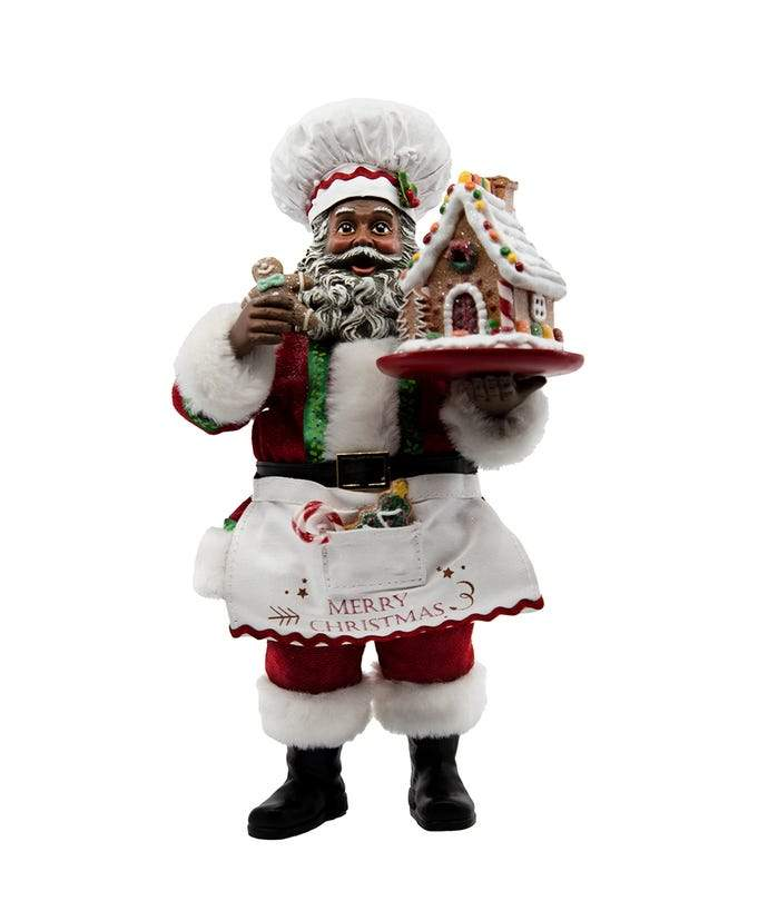 Gingerbread Chef Santa: African American Santa Claus Figurine (Fabriche Collection)