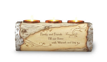 Friends Log Tea Light Holder: Elements Collection by Pavilion Gifts