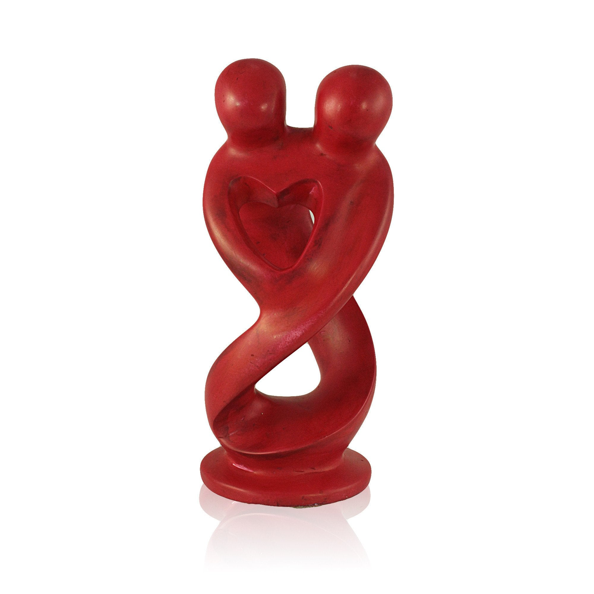 Red Lovers Kisii Stone Abstract Sculpture (Hand Made in Kenya)