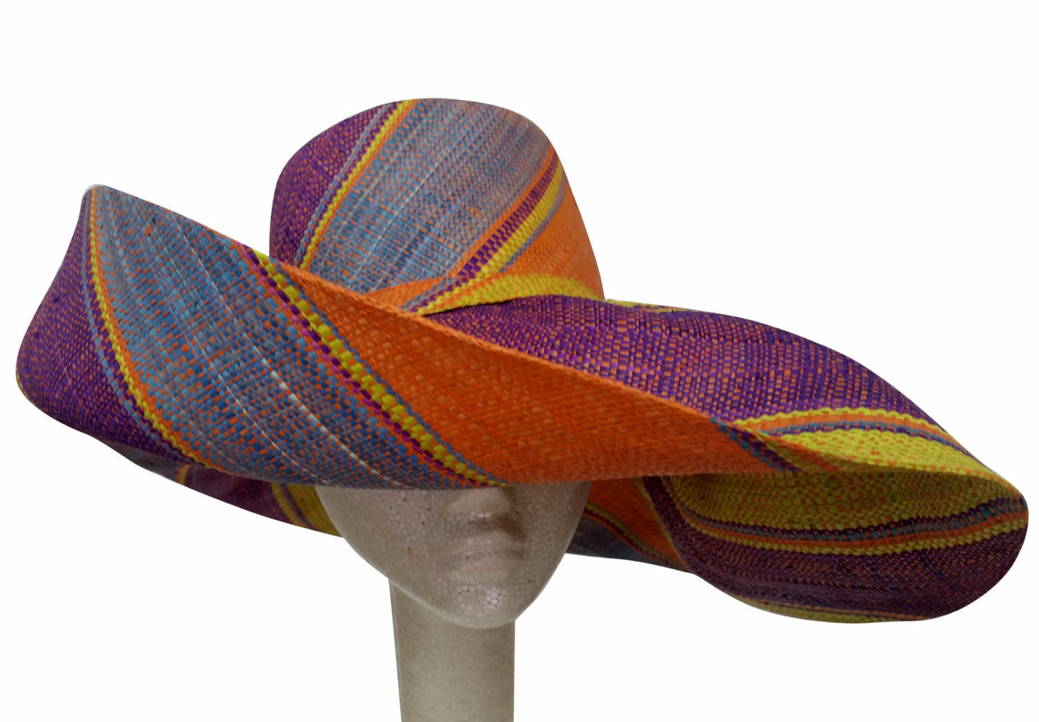 Raziya: Hand Woven Multicolored Madagascar Big Brim Raffia Hat