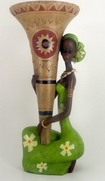 Ethnic Vase with Single Woman (Green)