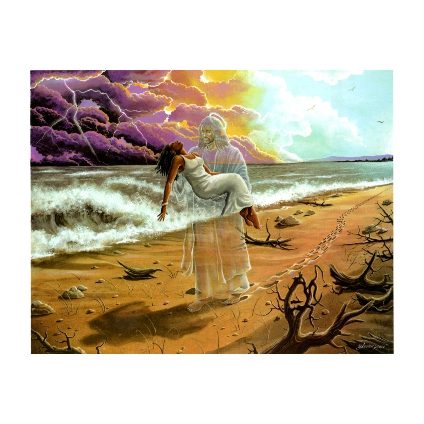 Footprints in the Sand (Female) by Lester Kern (Black Jesus)