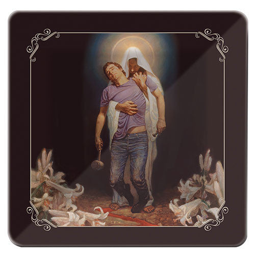 Forgiven: Religious Decorative Glass Plate by Thomas Blackshear