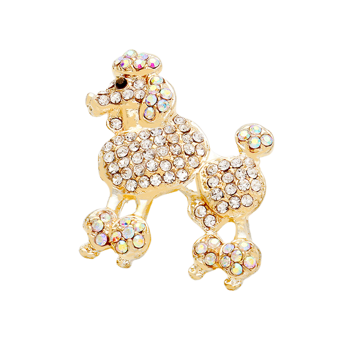 Sigma Gamma Rho Inspired French Poodle Rhinestone Brooch/Pin (Gold Tone)