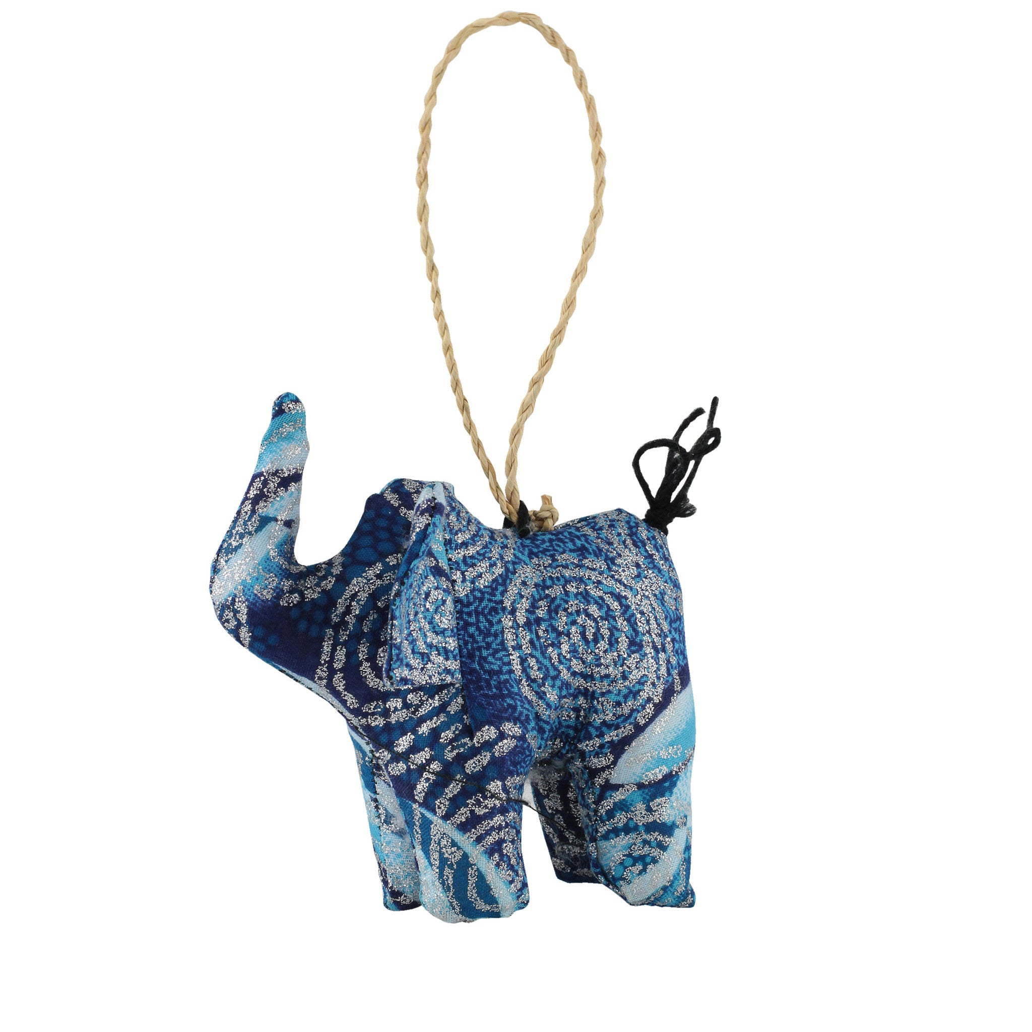 Frozen Elephant: Hand Made Ugandan Stuffed Animal Christmas Ornament