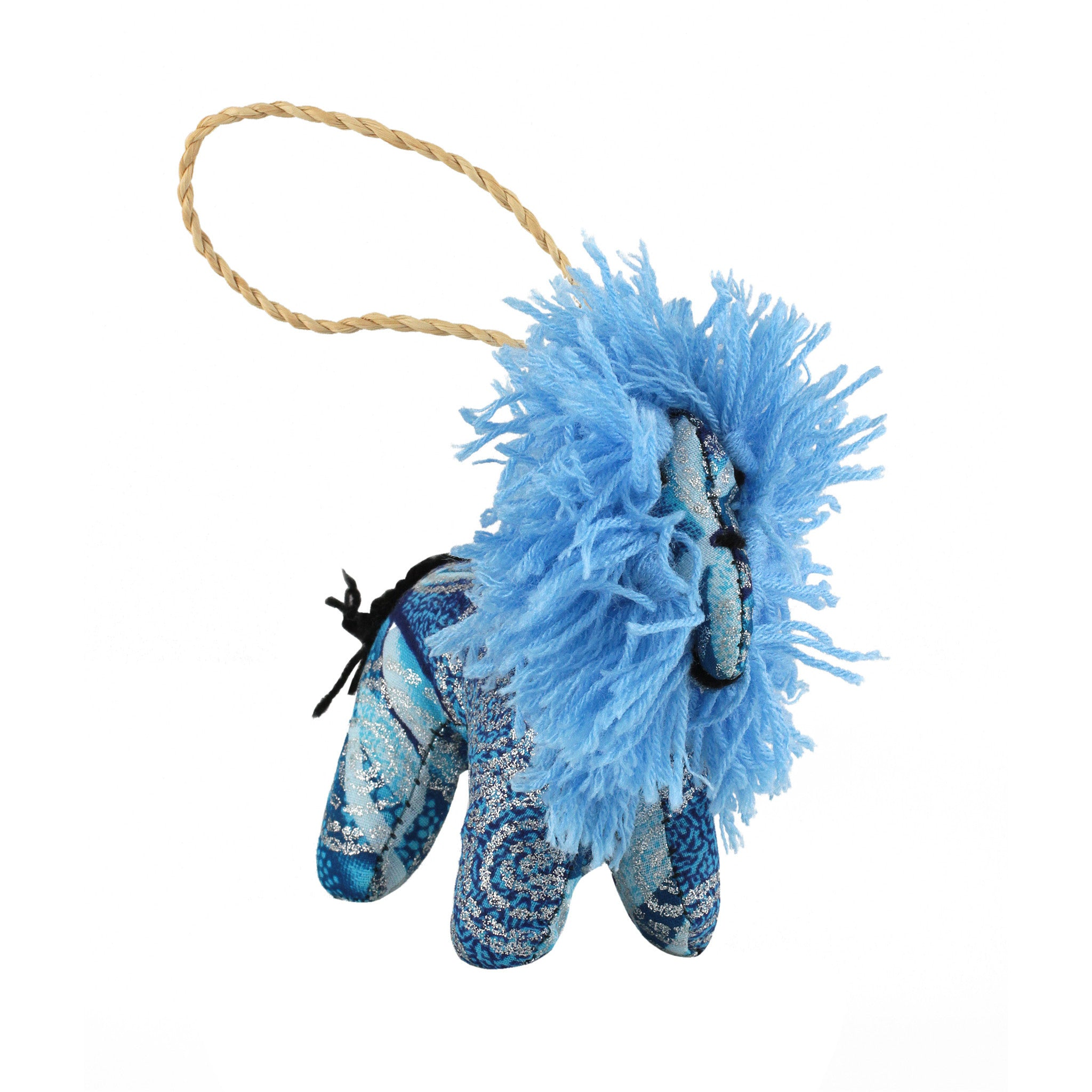 Frozen Lion: Hand Made Ugandan Stuffed Animal Christmas Ornament