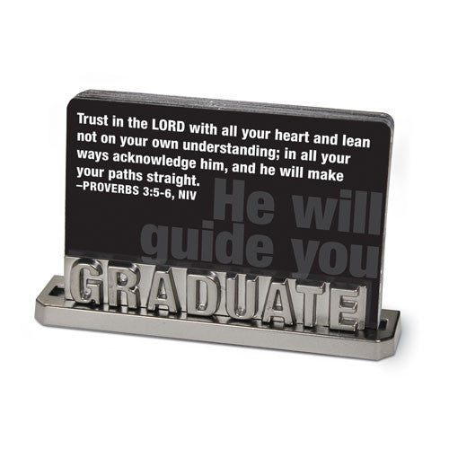 Graduate Silver Words Scripture Card Holder and Cards