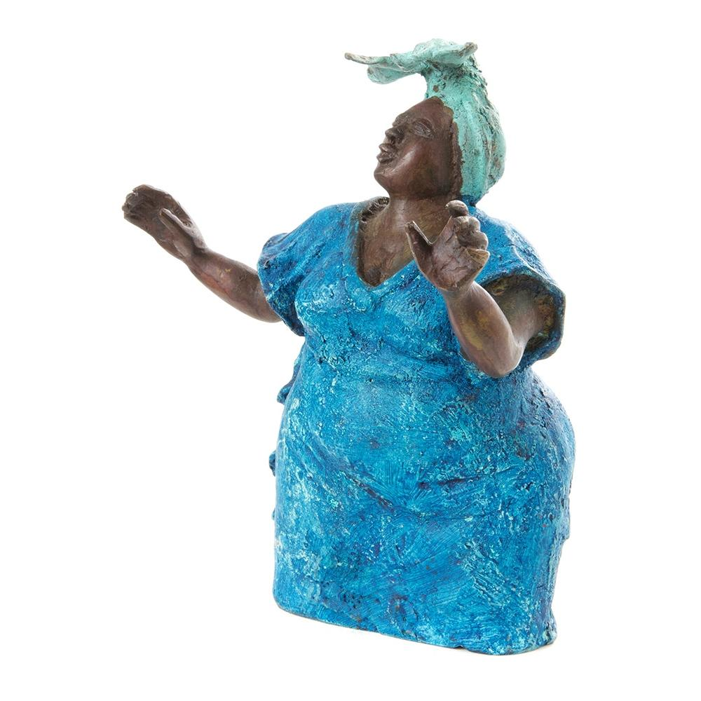 Give Praise: Authentic Handmade African Bronze Sculpture (Burkino Faso)