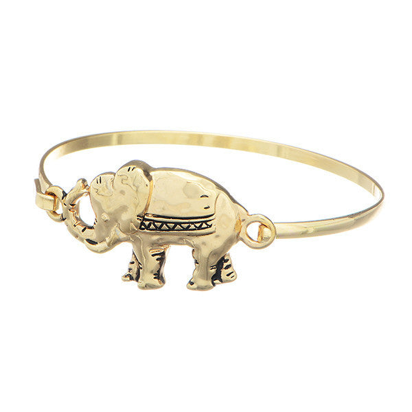 Gold Toned Elephant Bangle Bracelet