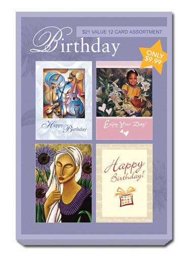 Purple Box Set of Birthday Greeting Cards