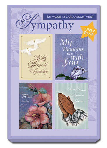Purple Box Set of Sympathy Greeting Cards