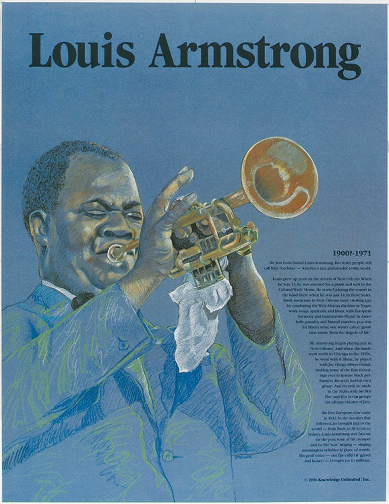 Great Black Americans: Louis Armstrong Poster by Knowledge Unlimited