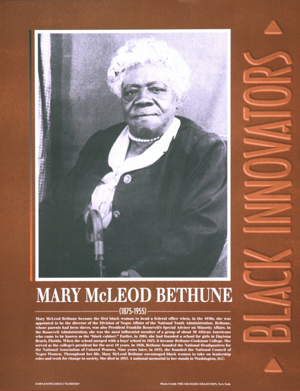 Black Innovators: Mary McLeod Bethune Poster by Knowledge Unlimited