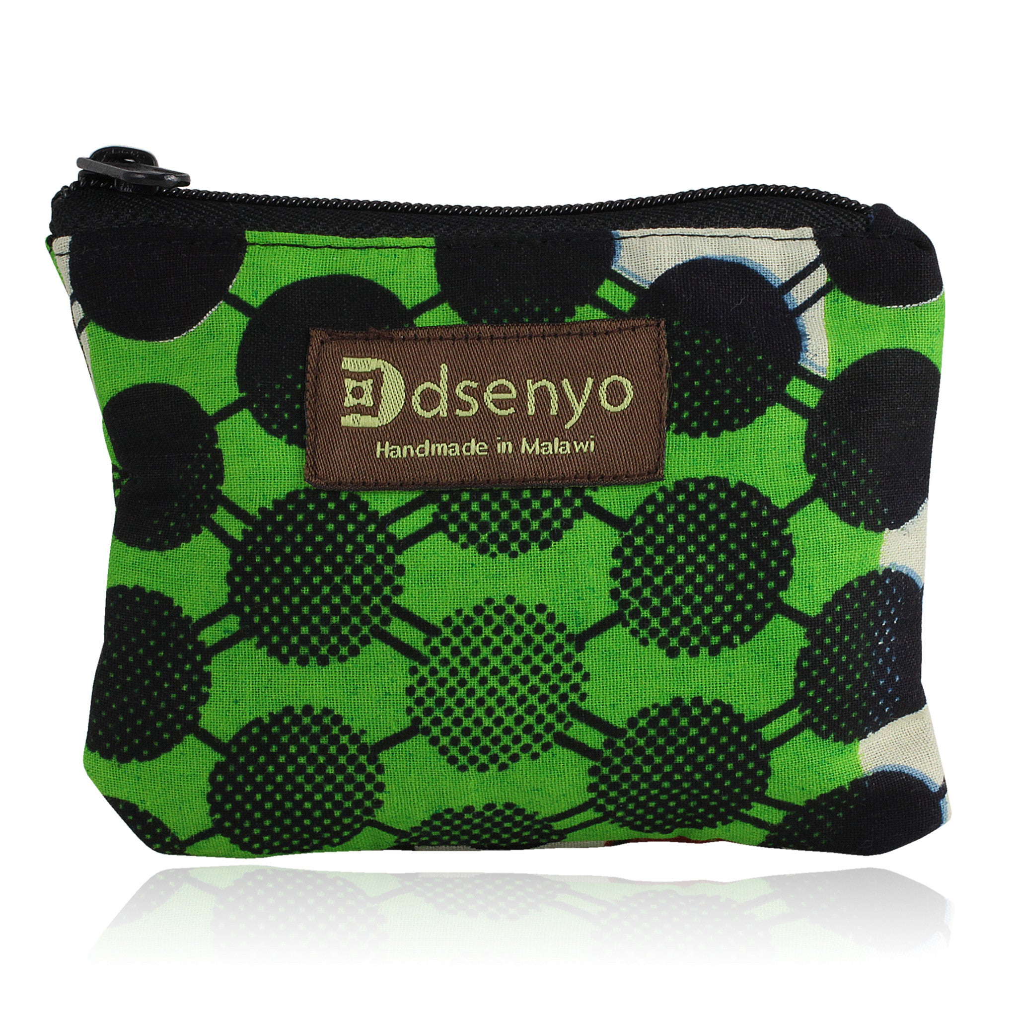 Green Polka Dot Hand Made African Fabric Coin Purse (Malawi)