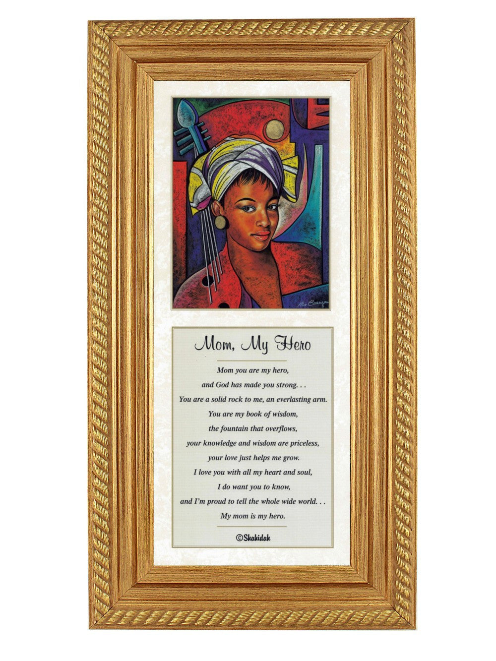 Mom, My Hero by Alix Beajour and Shahidah (Gold Rope Frame)