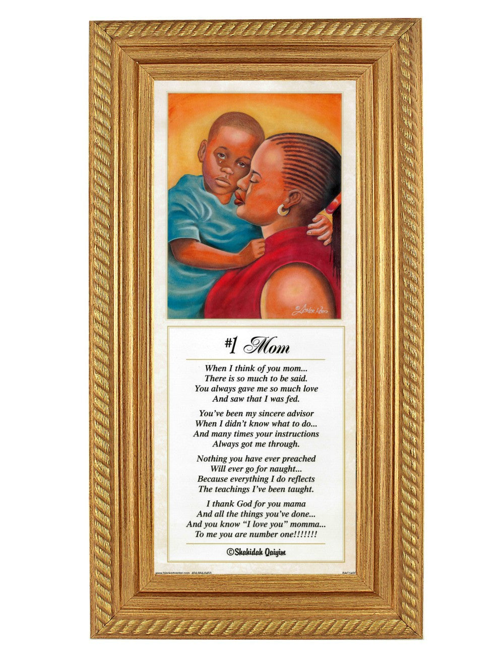 #1 Mom by Lester Kern and Shahidah (Gold Rope Frame)