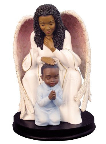 African American Guardian Angel with Boy Figurine by Positive Image Gifts