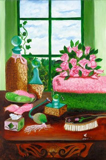 Pink And Green Bath by Herman Woodall
