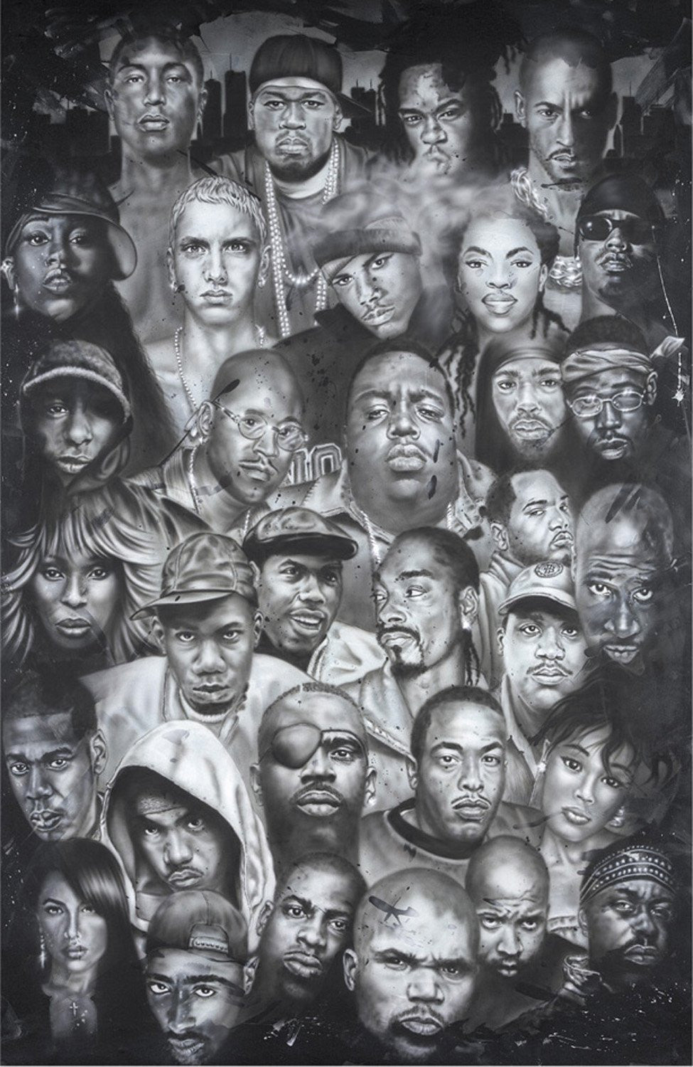 Hip Hop Montage: Iconinc Rap Artists and R&B Singers by Herbert Beyer (Poster)