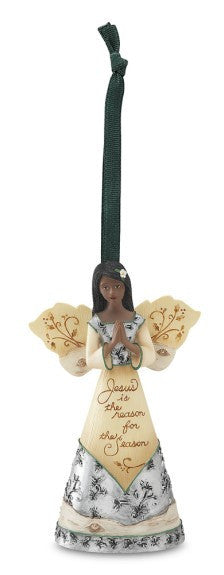 Prayer Angel Ornament: Holiday Ebony Elements Collection