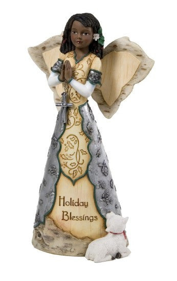 Holiday Blessing Angel Holding Cross Figurine by Holiday Elements