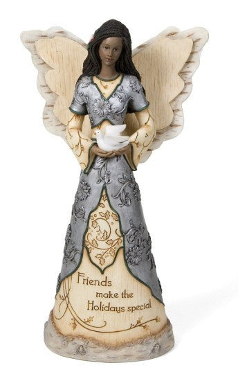 African American Friends Angel Figurine: Holiday Elements Collection by Pavilion Gifts