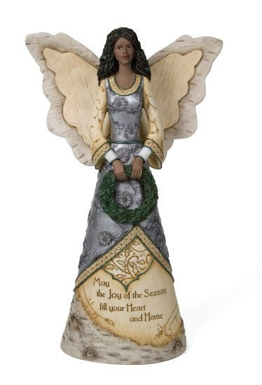 Joy of the Season Angel with Wreath Figurine by Holiday Elements