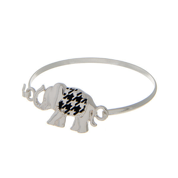 Delta sigma Theta Inspired Elephant Houndstooth Bangle Bracelet