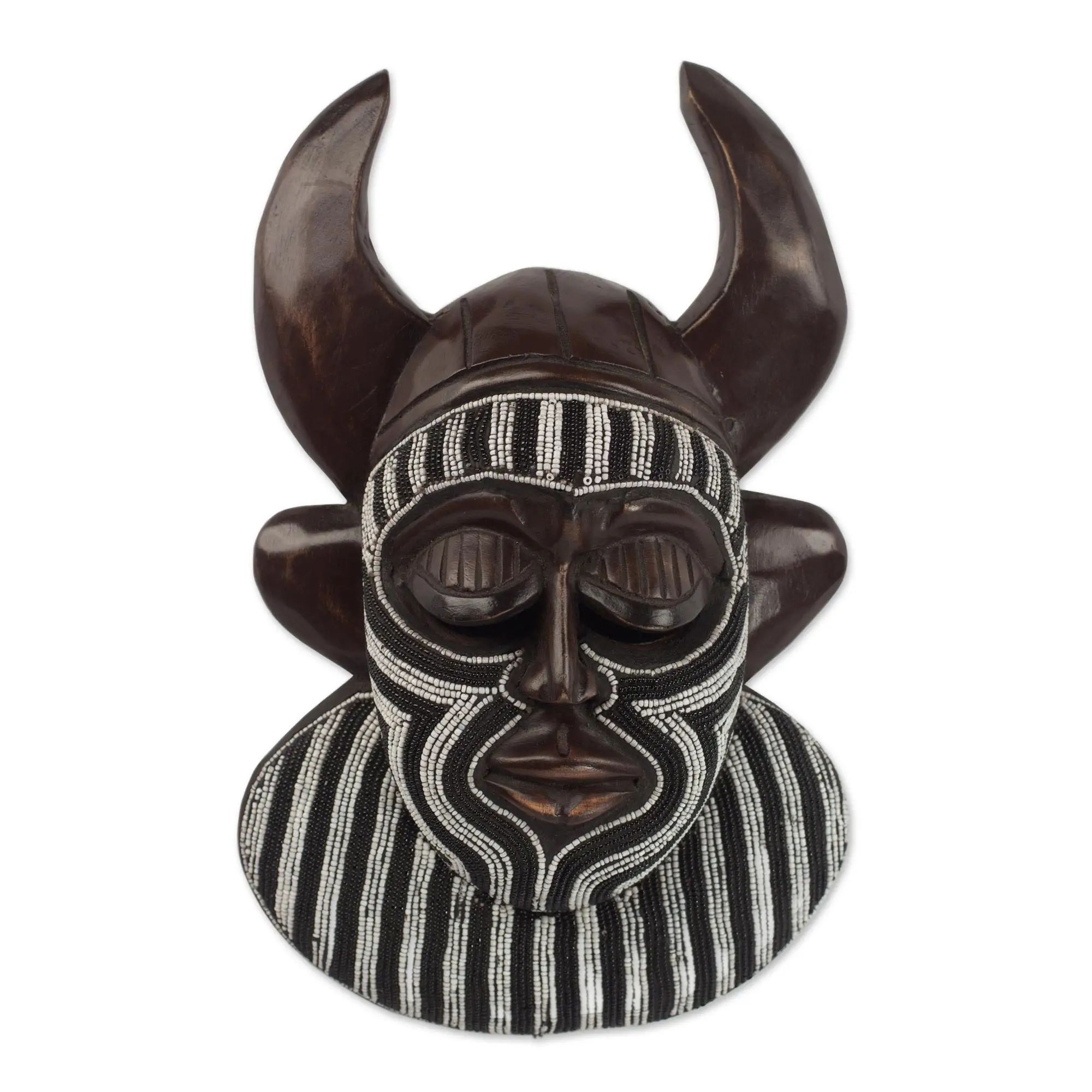 Authentic African Hand Made Kafo Horn Mask of Power by Awudu Saaed