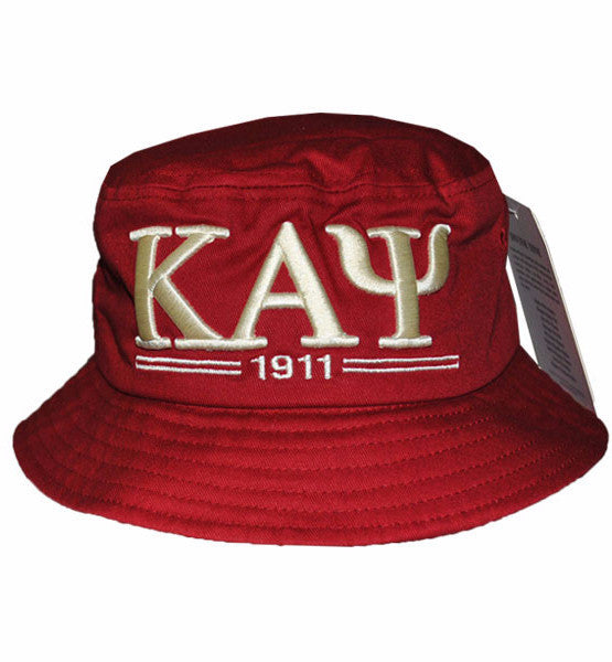 Kappa Alpha Psi 1911 Crimson and Cream Bucket Hat by Big Boy Headgear (Front)