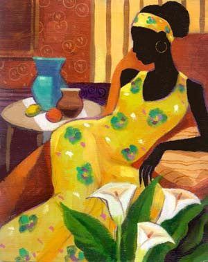 Woman With Blue Vase by Keith Mallett