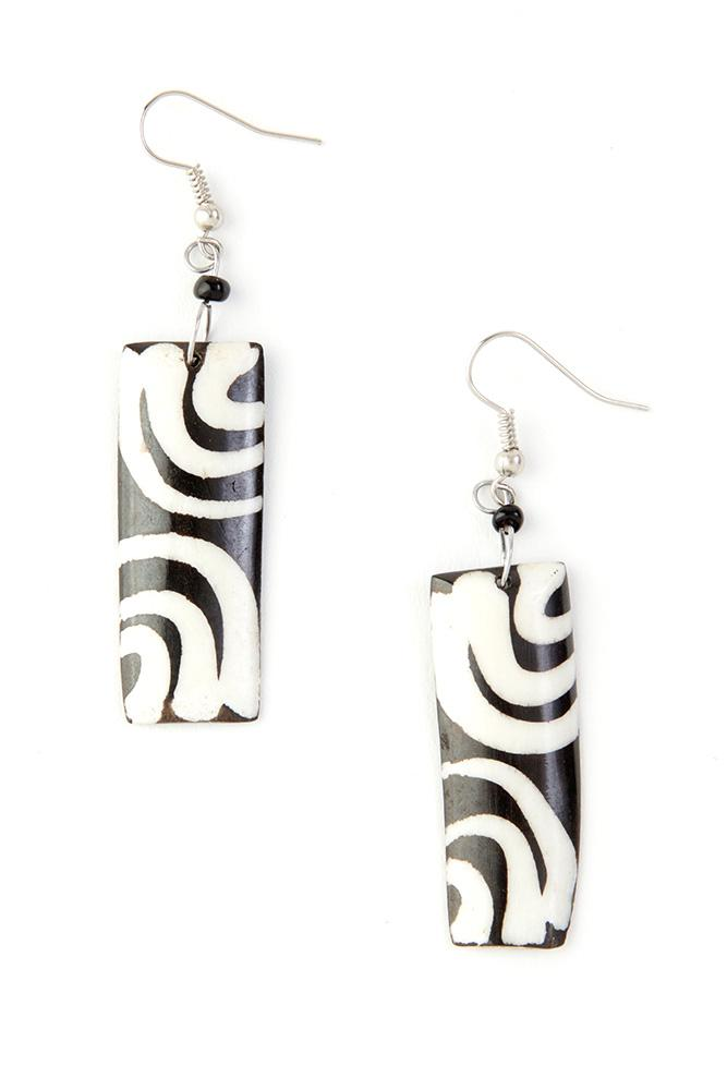 Authentic African Hand Made Kenyan Cow Bone Ripple Earrings