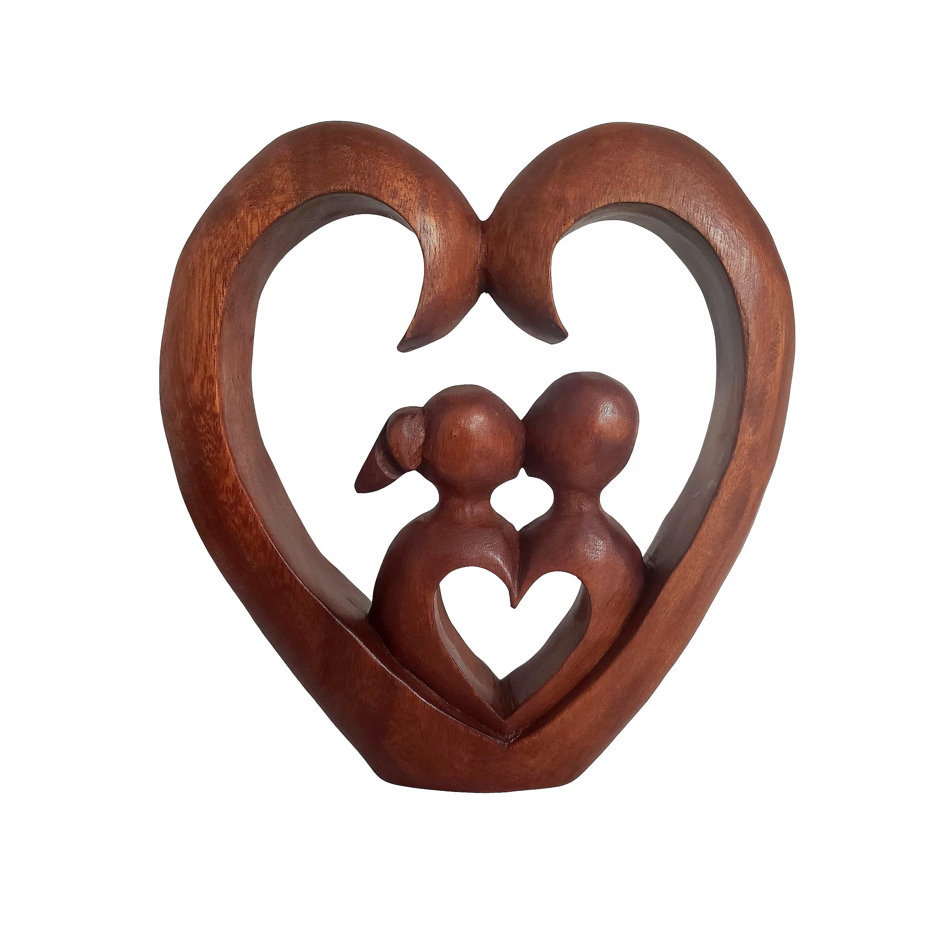 Kissing Couple: Authentic Indonesian Suar Wood Decor