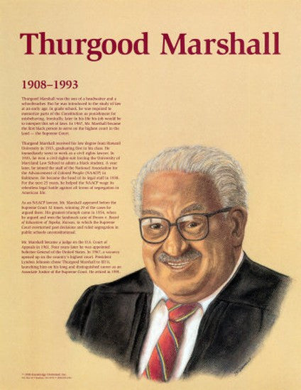 Great Black Americans: Thurgood Marshall Poster by Knowledge Unlimited