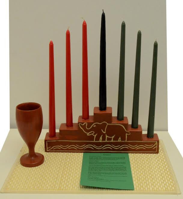 Hand Made Ghanian Kwanzaa Pyramid Kinara and Celebration Set