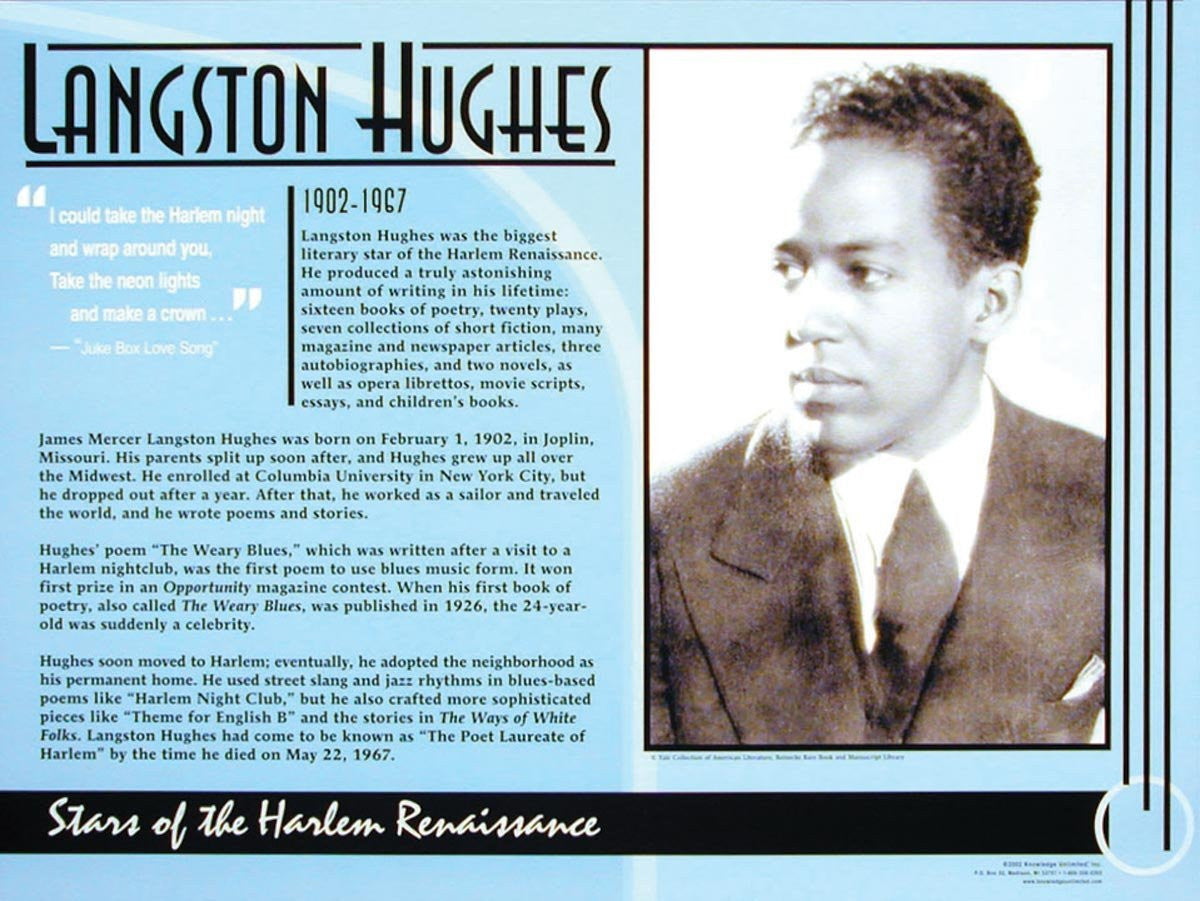 Stars of the Harlem Renaissance: Langston Hughes Poster by Knowledge Unlimited