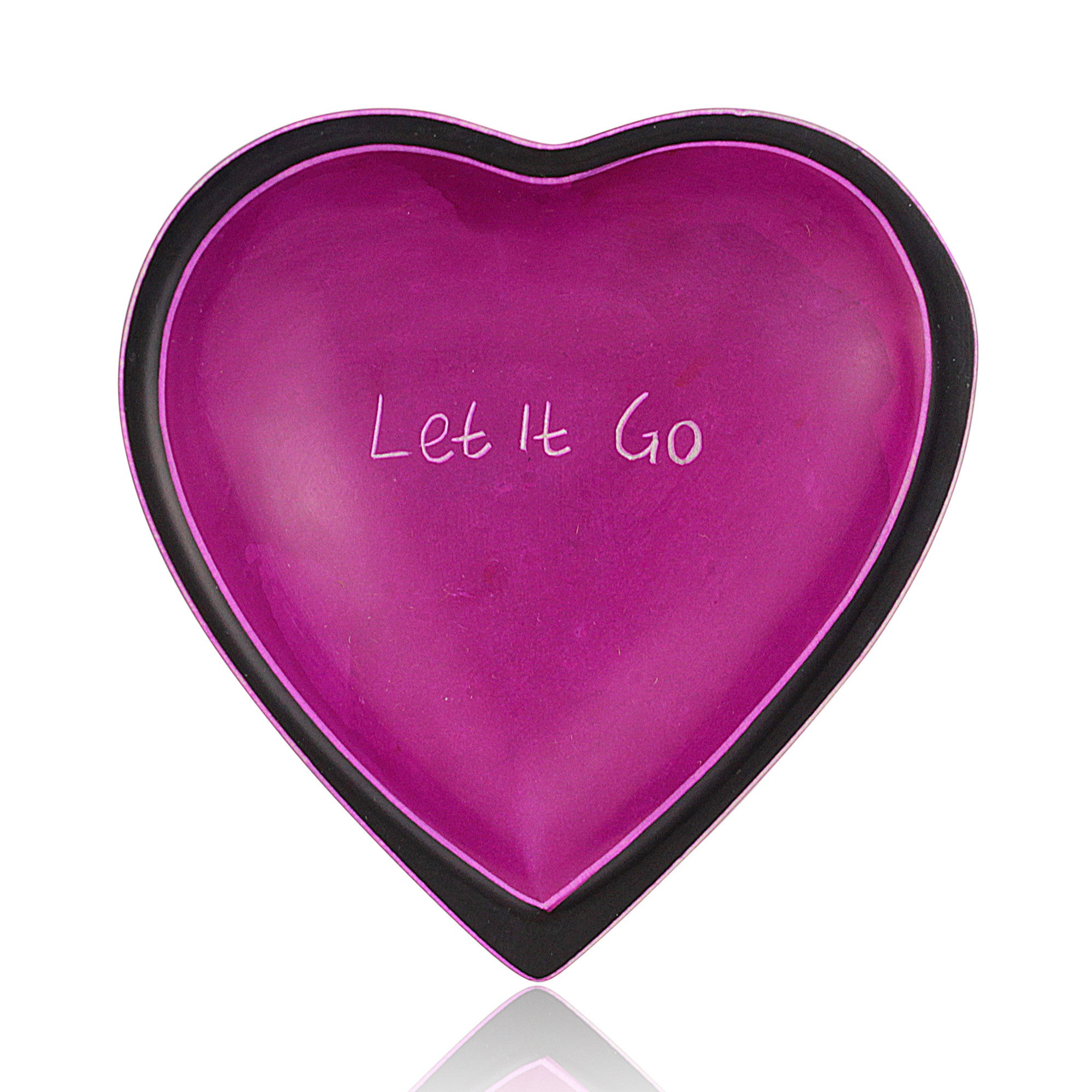 Let It Go Kenyan Heart Shaped Soapstone Dish by Venture Imports