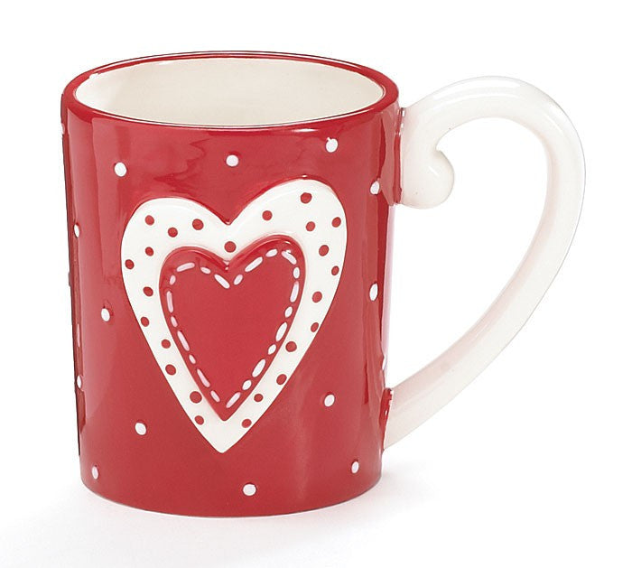 Gingham Hearts Ceramic Mug by Burton and Burton