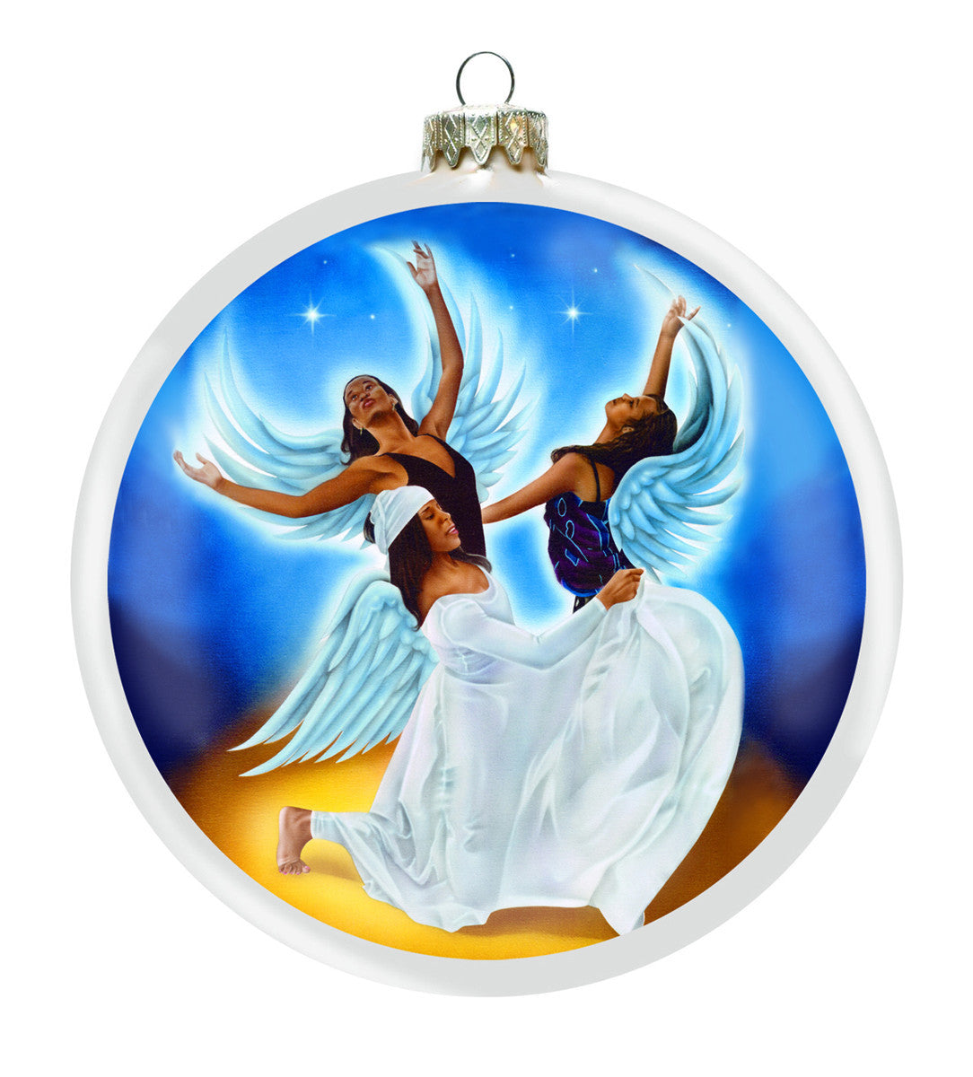 Angels Trio: African American Christmas Ornament (Front)