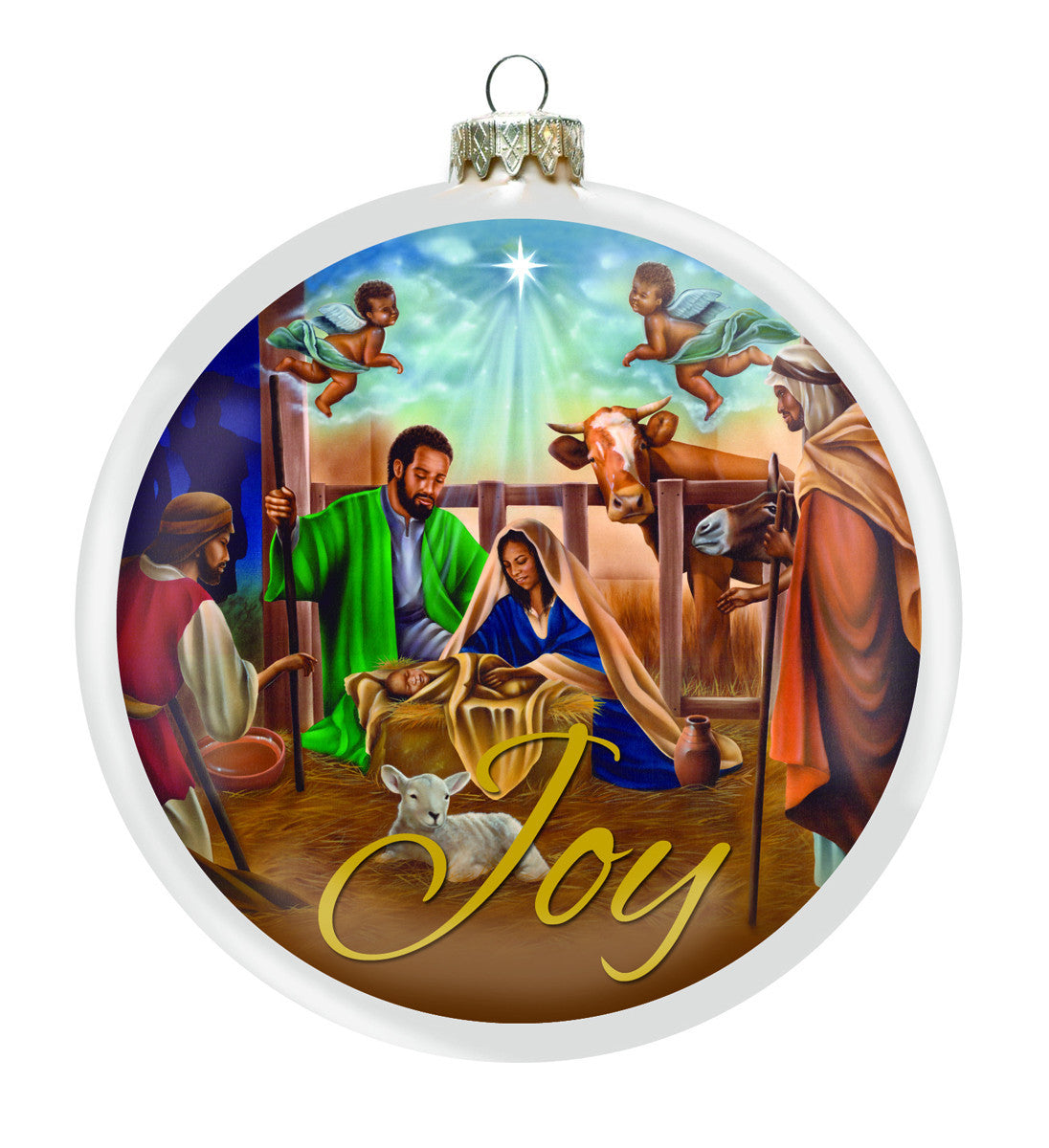 nativity african american christmas ornament front - African American Christmas Decorations