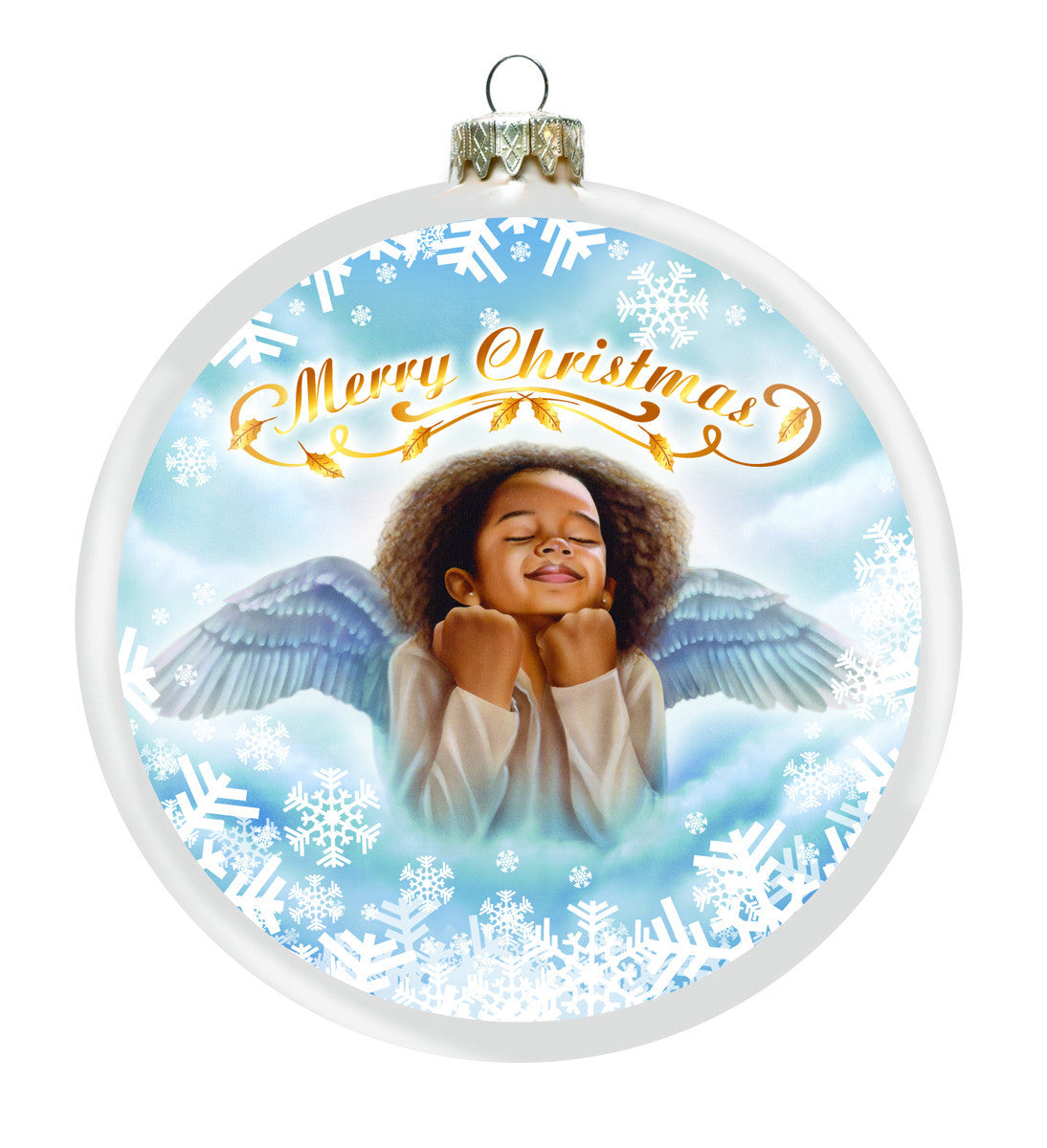 Little Angel: African American Christmas Ornament (Front)