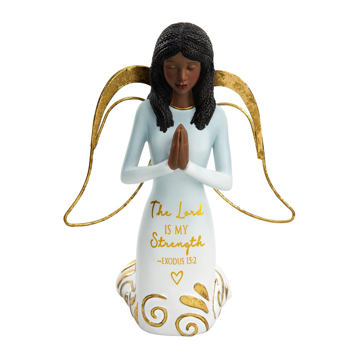 The Lord is My Strength by Amylee Weeks: African American Angel Figurine (Front)