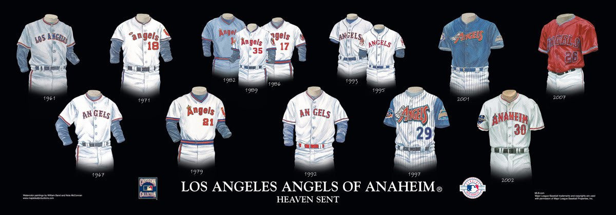 Los Angels Angels of Anaheim Baseball Poster by Nola McConnan and William Band