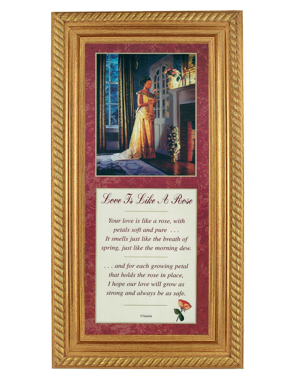 Love is Like a Rose by Melinda Byers and Shahidah (Gold Rope Frame)
