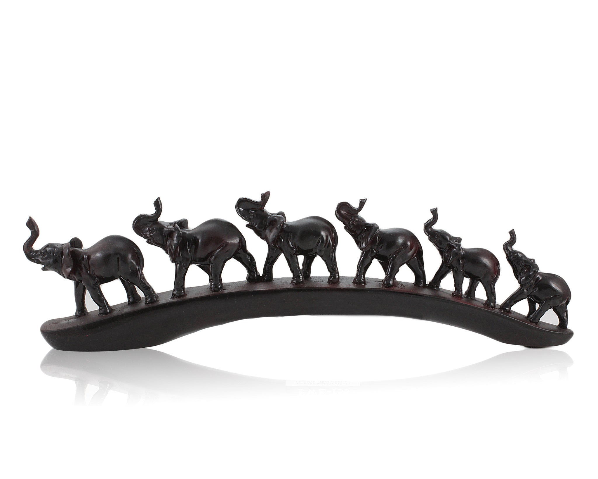 Elephant Train Faux Wood Carving by Unison Gifts