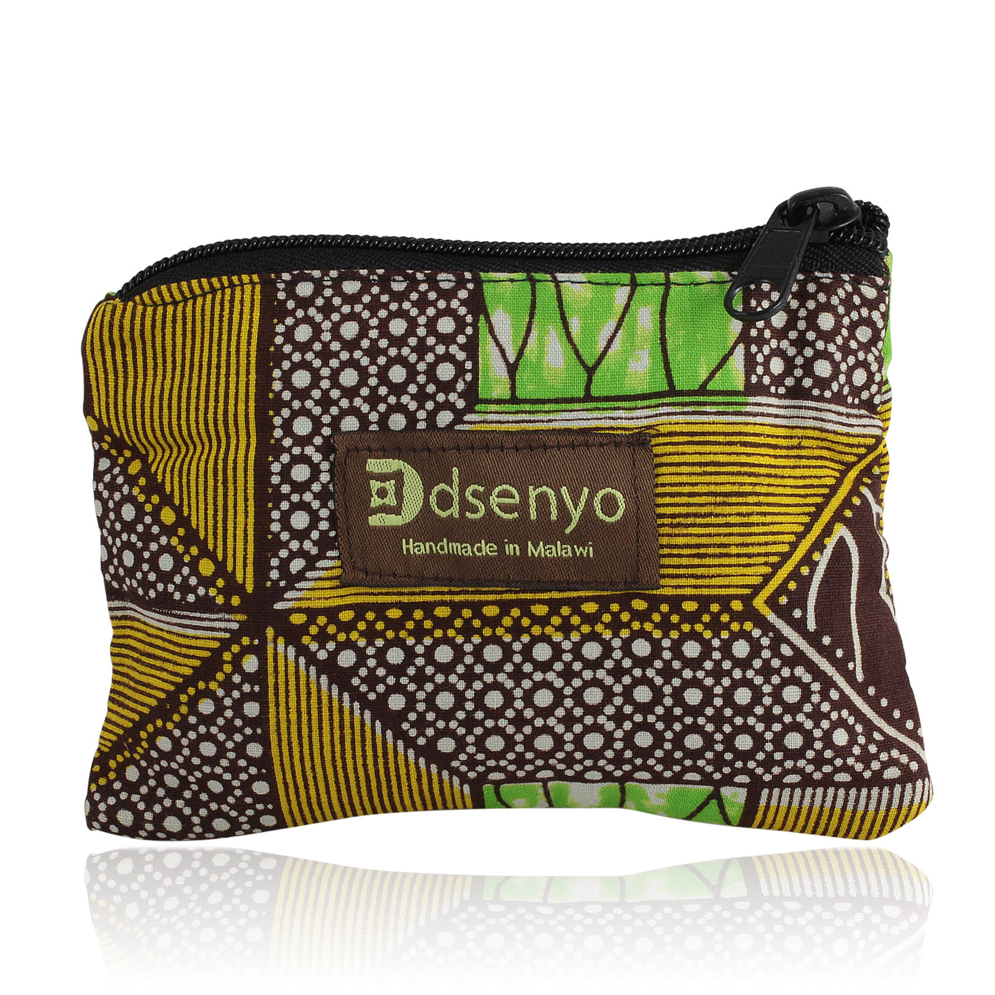 Green Geometric Coin Purse (Hand Made in Malawi)