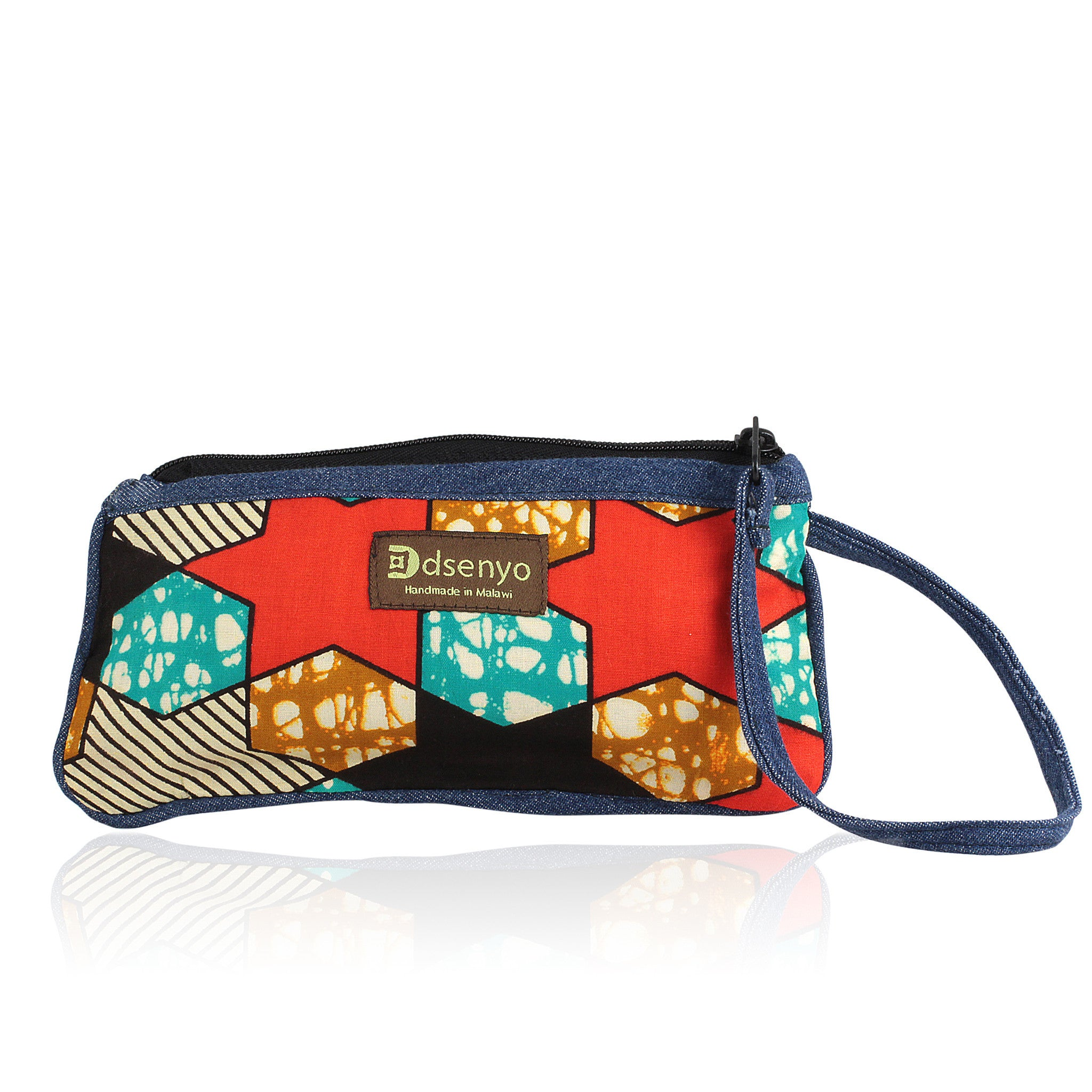 Tomato Red Stars: Hand Made Denim and African Wax Print Wristlet