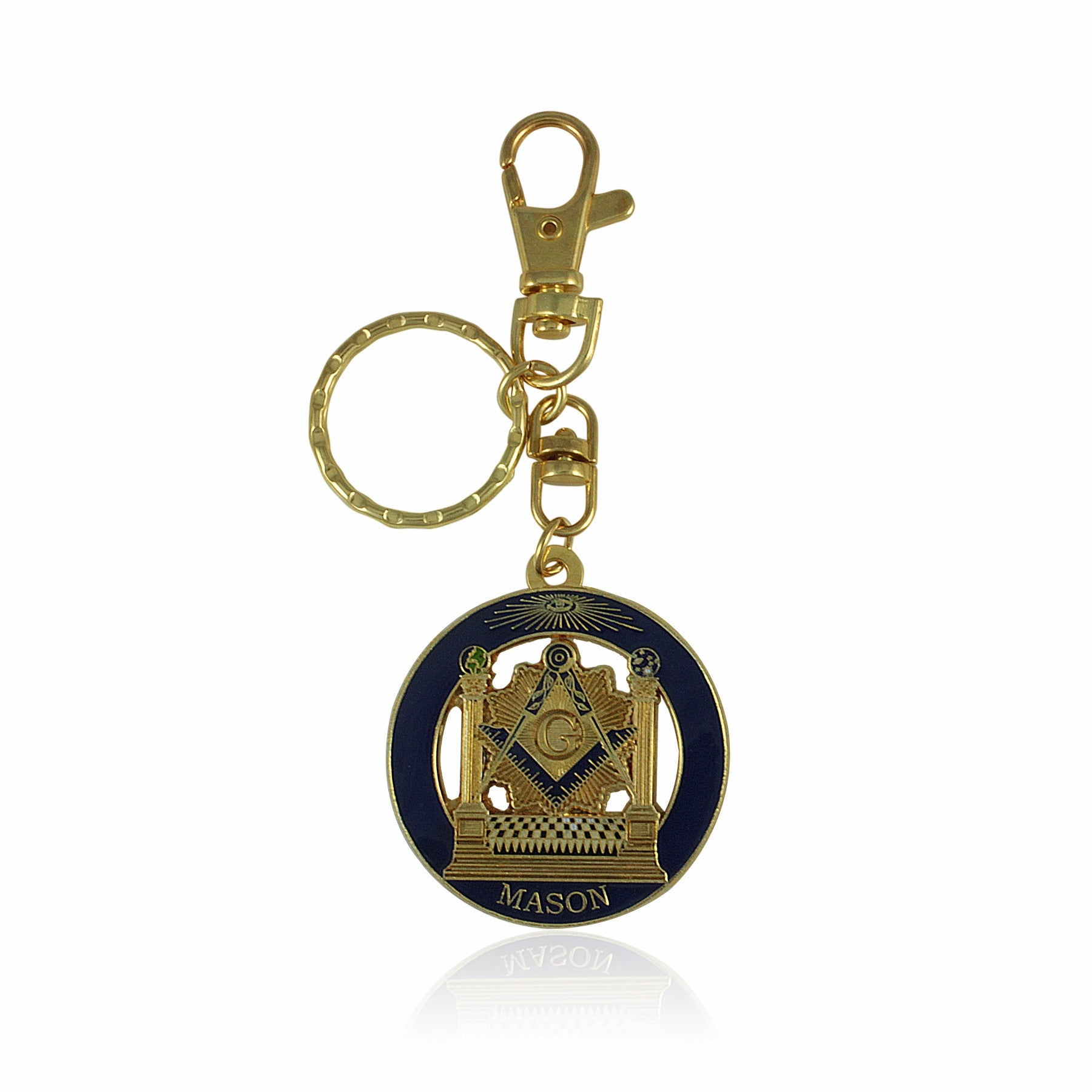 Two Pillars: Masonic Key Chain with Hook by UniverSoul Gifts