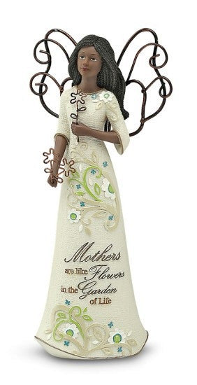 African American Mother Angel Figurine with Flowers: Perfect Paisley Collection by Pavilion Gifts