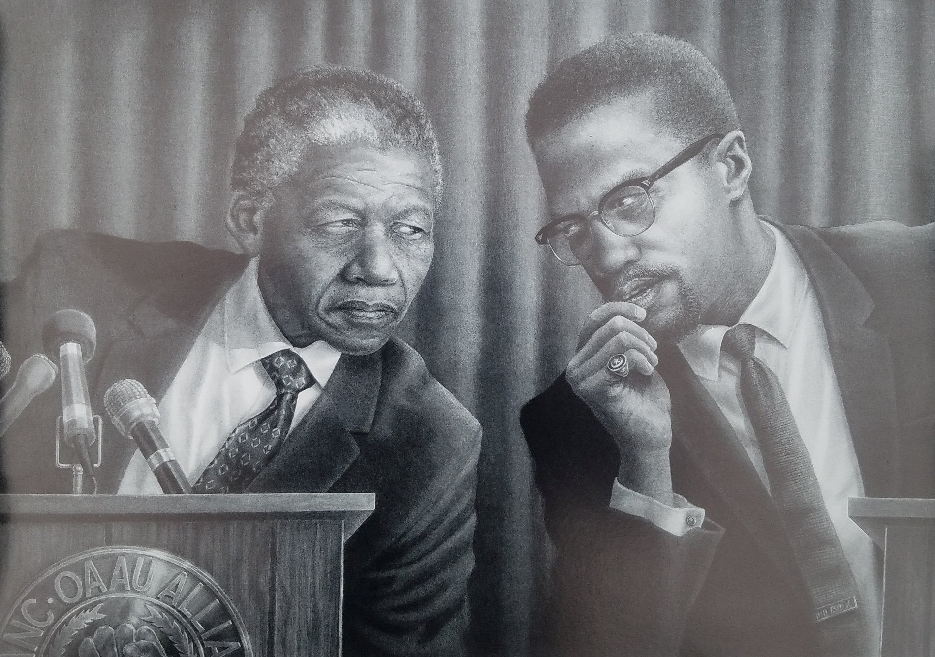 Meeting of the Minds (Malcolm X and Nelson Mandela) by Jay C. Bakari